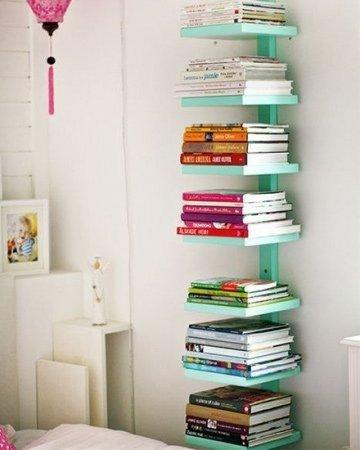 boekenkast ideen simpel mintgroen weinig ruimte