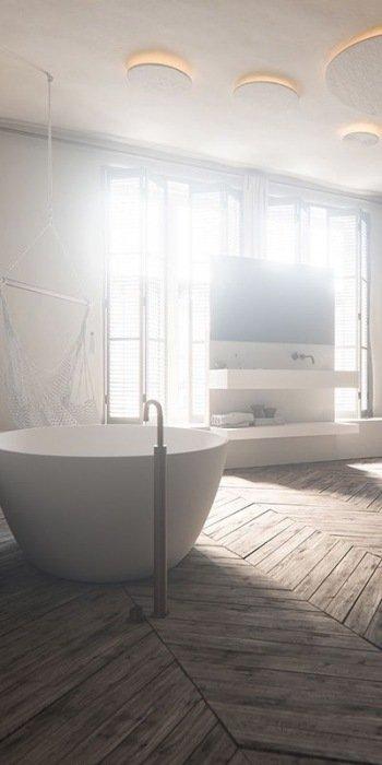 5 tips voor een houten vloer in de badkamer mrwoon - Badkamer houten vloer ...